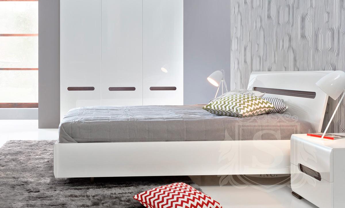 Кровать LOZ/160 «Ацтека» | Нимфея Альба | Белый глянец
