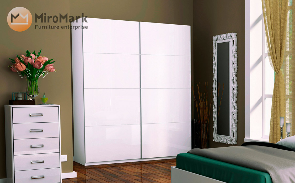 Фото Шафа купе - МіроМарк - Белла - Колір Глянець білий - 2 двері - ДСП + ДСП - ширина 200 см, глибина 61,5 см, висота 211,5 см - ціна 8 943  - SOFINO.UA