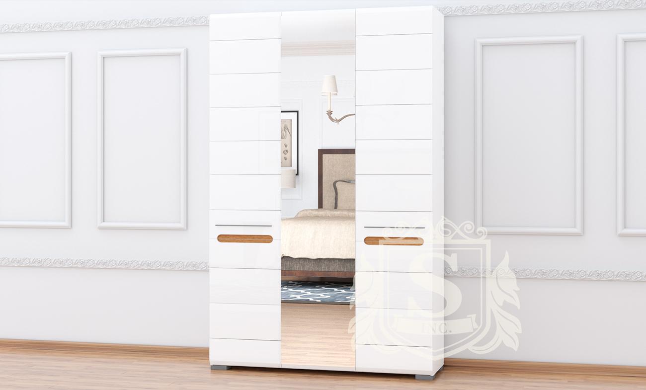 Шкаф 3ДЗ «Бьянко» белый глянец | дуб сонома
