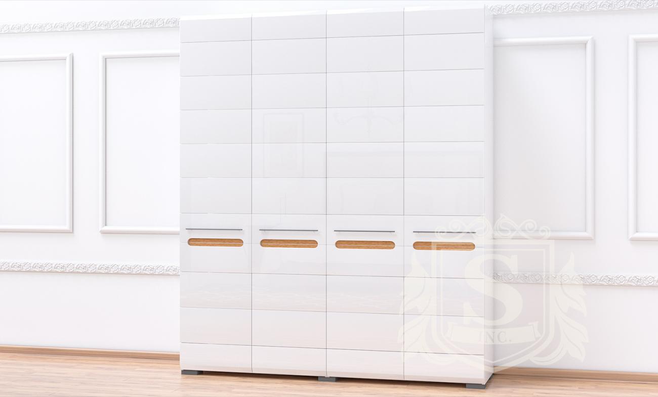 Шкаф 4Д «Бьянко» белый глянец | дуб сонома