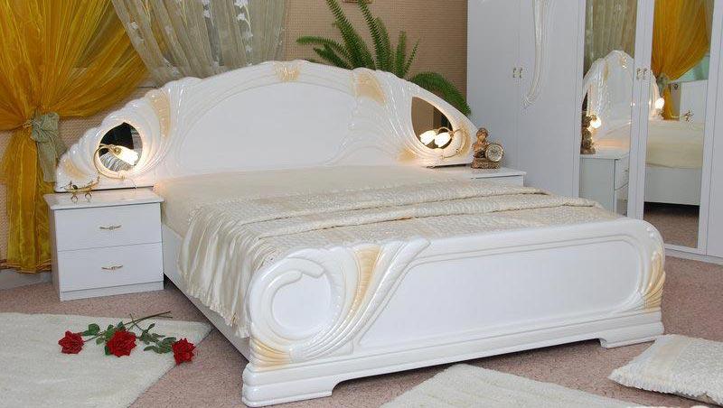 Фото Кровать белая двуспальная «Лола» с подъемным механизмом 1,6   гл. белый MiroMark - sofino.ua