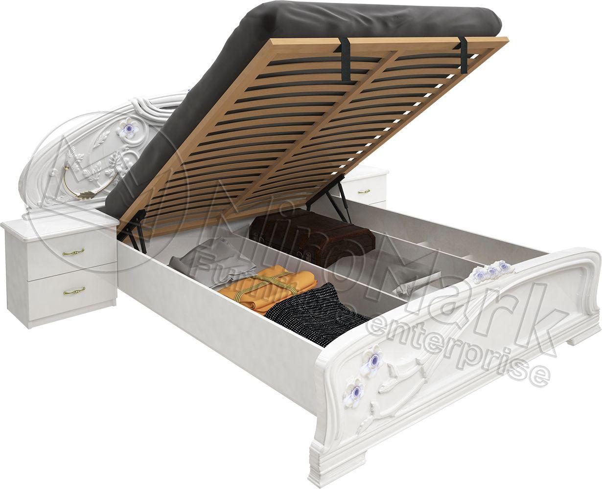Фото Кровать «Лулу» с подъемным механизмом 1,8 | гл. белый MiroMark - sofino.ua