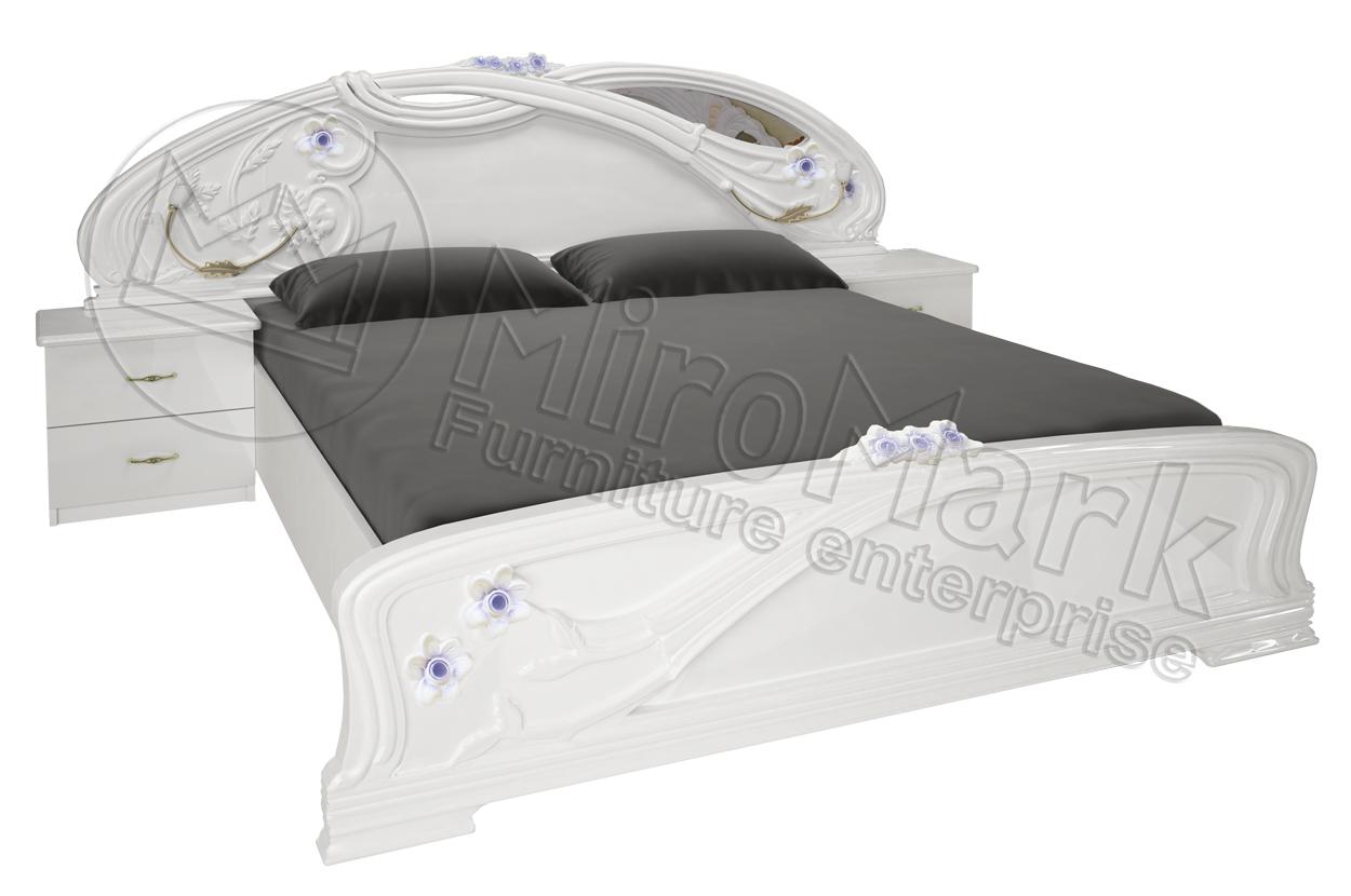 Фото Кровать белая двуспальная «Лулу» с подъемным механизмом 1,8 | гл. белый MiroMark - sofino.ua