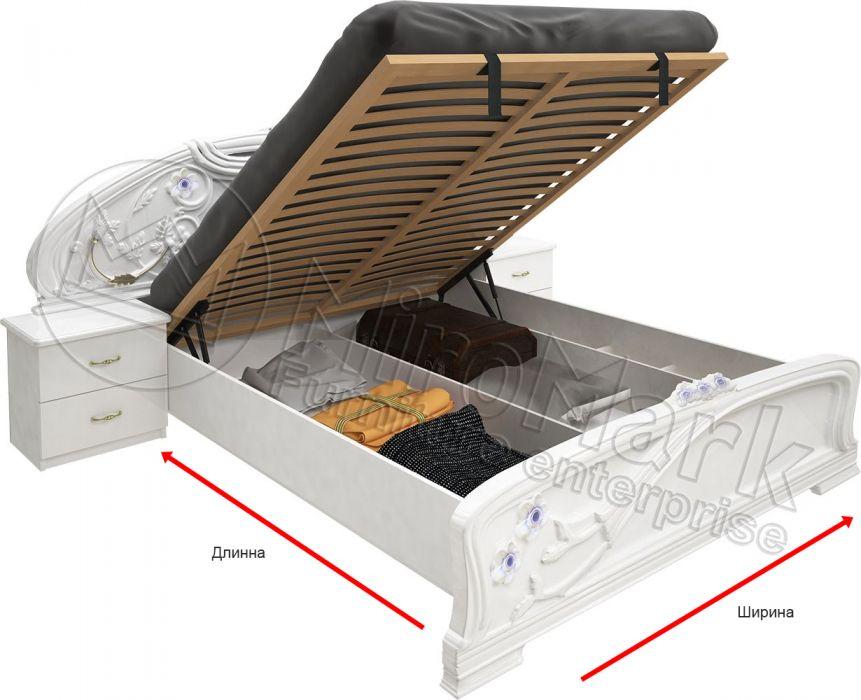 Фото Кровать белая «Лулу» с подъемным механизмом 1,8 | гл. белый MiroMark - sofino.ua