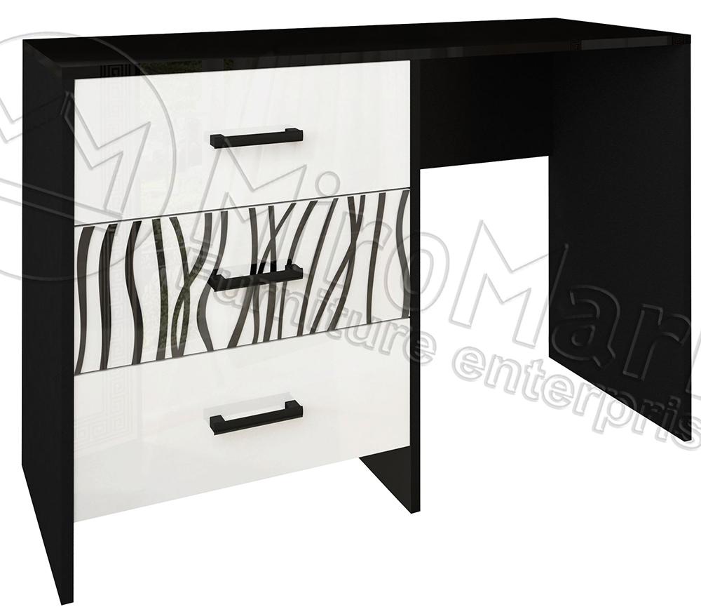 Фото Туалетный столик 3ш «Терра Софт» глянец белый / черный мат MiroMark - sofino.ua