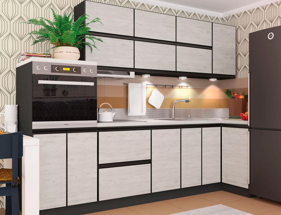 Фото Кухня кутова ВІП мастер Альта матова (ДСП Дуб крафт білий ВL) 280х90 см ( код товару 403560 ) - SOFINO.UA