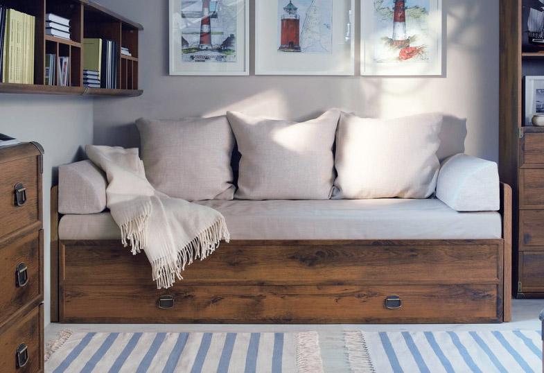 Фото Ліжко розсувне JLOZ_80/160+матрац+подушки «Індіана»   Дуб шуттер - SOFINO.UA