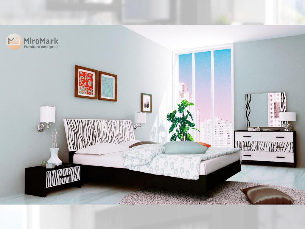 Фото Спальня Міромарк «Терра» 160х200 (Комод 3ш + Дзеркало) Глянець білий + Мат чорний Розпродажна позиція - SOFINO.UA