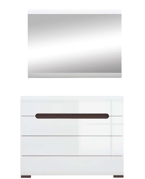Комод с зеркалом KOM_4S/8/11 «Ацтека» | Нимфея Альба | Белый глянец