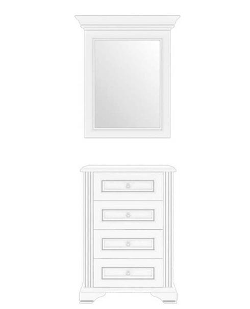 Комод с зеркалом 60 4S 60 «Вайт» | Сосна серебренная