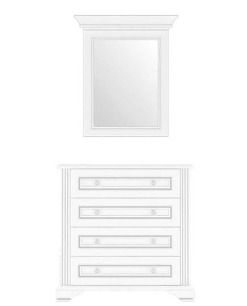 Комод с зеркалом 60 4S 90 «Вайт» | Сосна серебренная