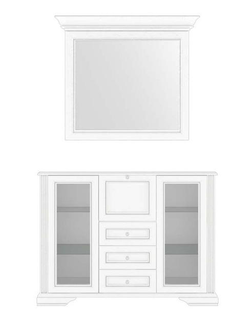 Комод с зеркалом 90 2W3S1B «Вайт» | Сосна серебренная