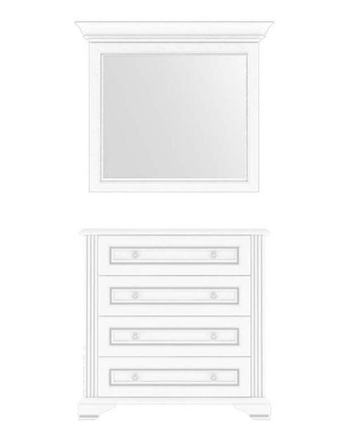Комод с зеркалом 90 4S 90 «Вайт» | Сосна серебренная