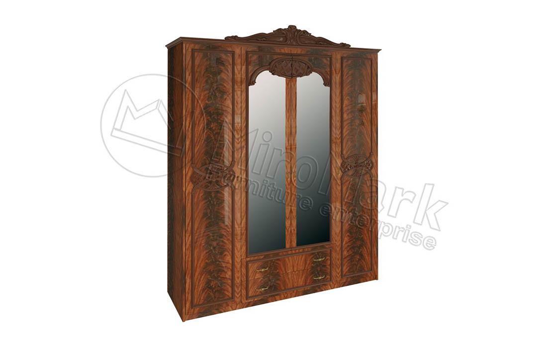 Шкаф 4д «Олимпия» с зеркалом и ящиками | Перо орех