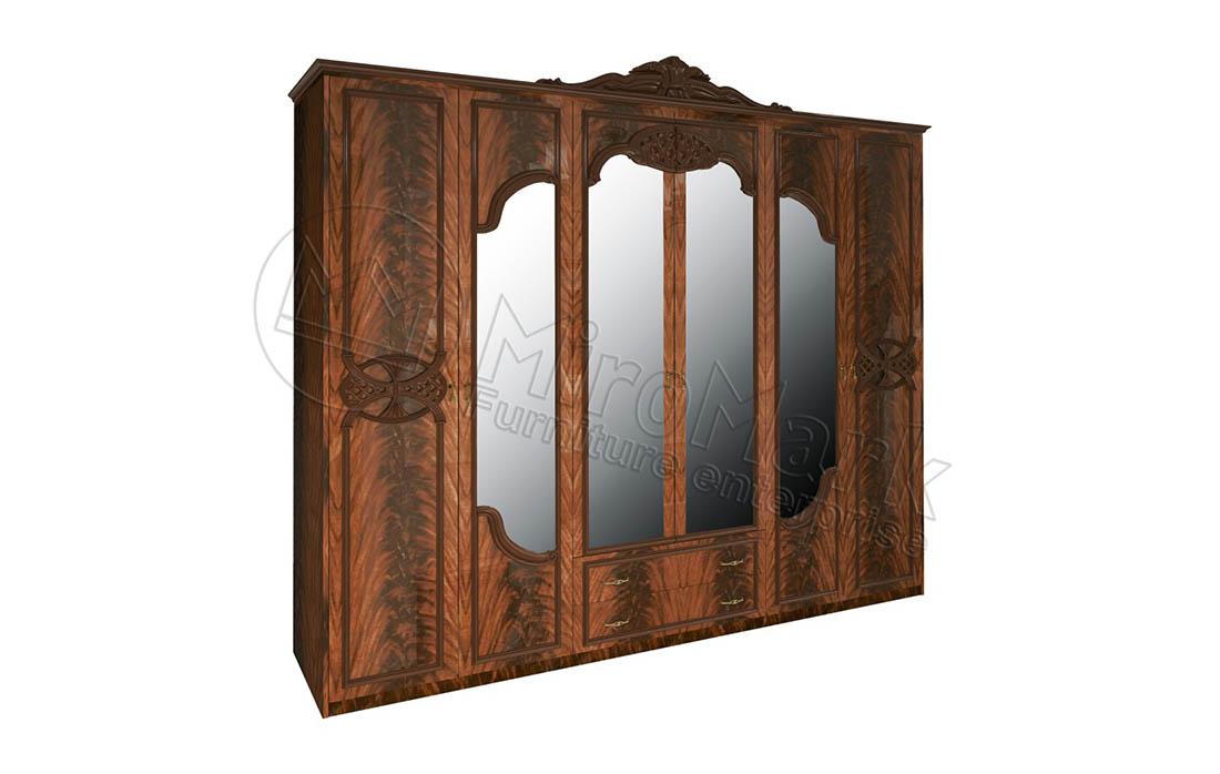 Шкаф 6д «Олимпия» с зеркалом и ящиками | Перо орех