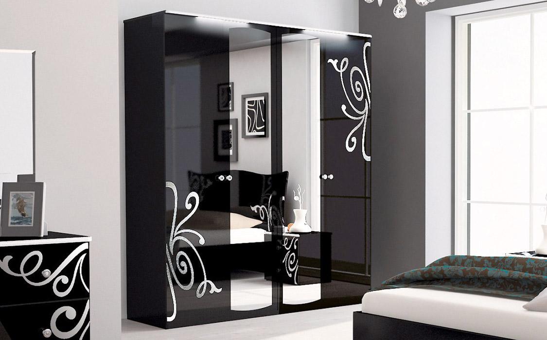 Фото Шкаф 4д «Богема» с зеркалом | Глянец черный - SOFINO.UA