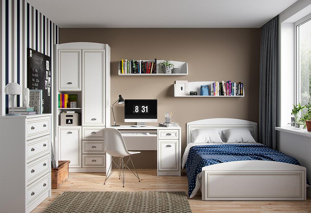 Фото Дитяча кімната Салерно Гербор ДСП + МДФ (Стіл письмовий 1D1S + Комод 4S + Шафа комбі 3D3S) Розпродажна позиція - SOFINO.UA