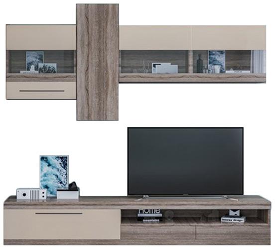 Фото Стінка ТВ «Толедо» без шкафа | Дуб трюфель | Крем - ціна 6 930  - SOFINO.UA