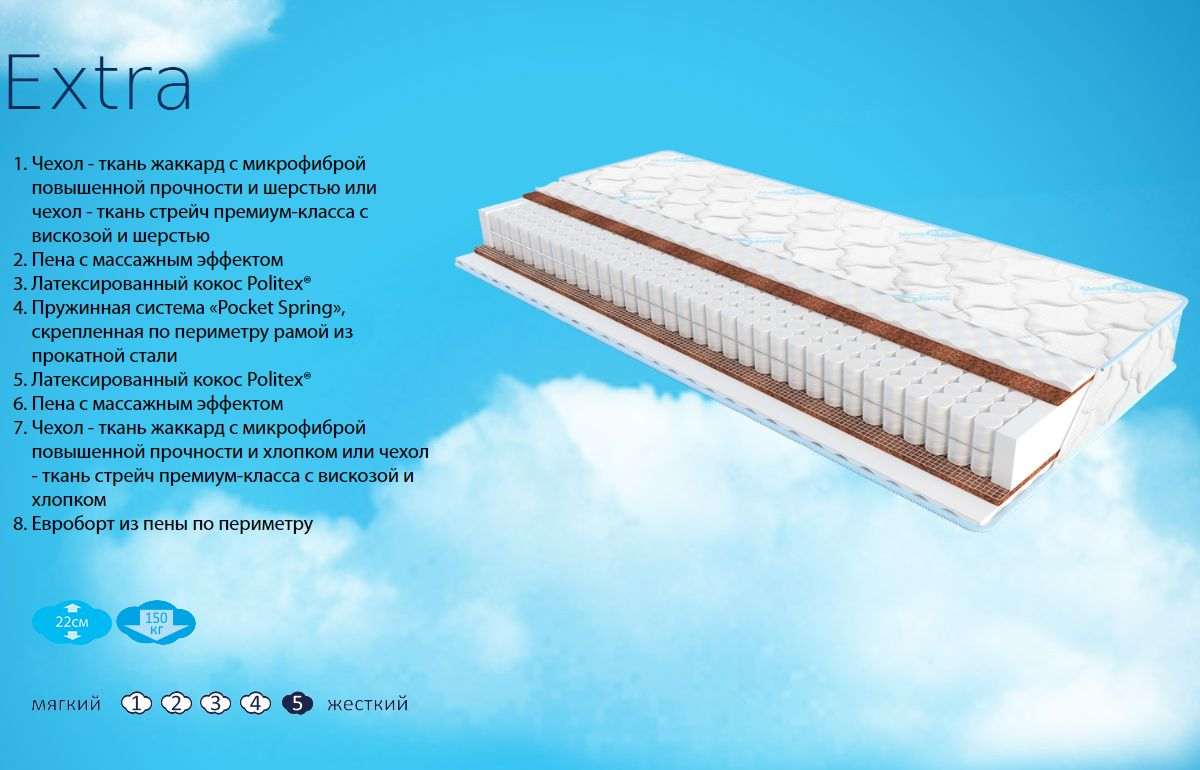 Фото 1 Матрас «Extra» жаккард | 140*200 Sleep&Fly - SOFINO.UA