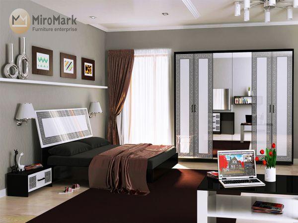 Фото Спальня Міромарк «Віола» 160х200 (Шафа 6д) Глянець білий + Мат чорний Розпродажна позиція - SOFINO.UA