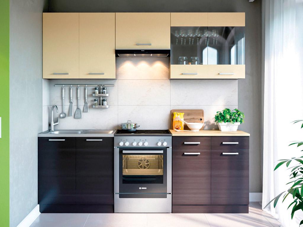 Фото Кухня пряма Марта Світ меблів • Скло + ДСП • 220 см • Фасад Венге темний + Венге світлий + Корпус Венге темний Розпродажна позиція - SOFINO.UA