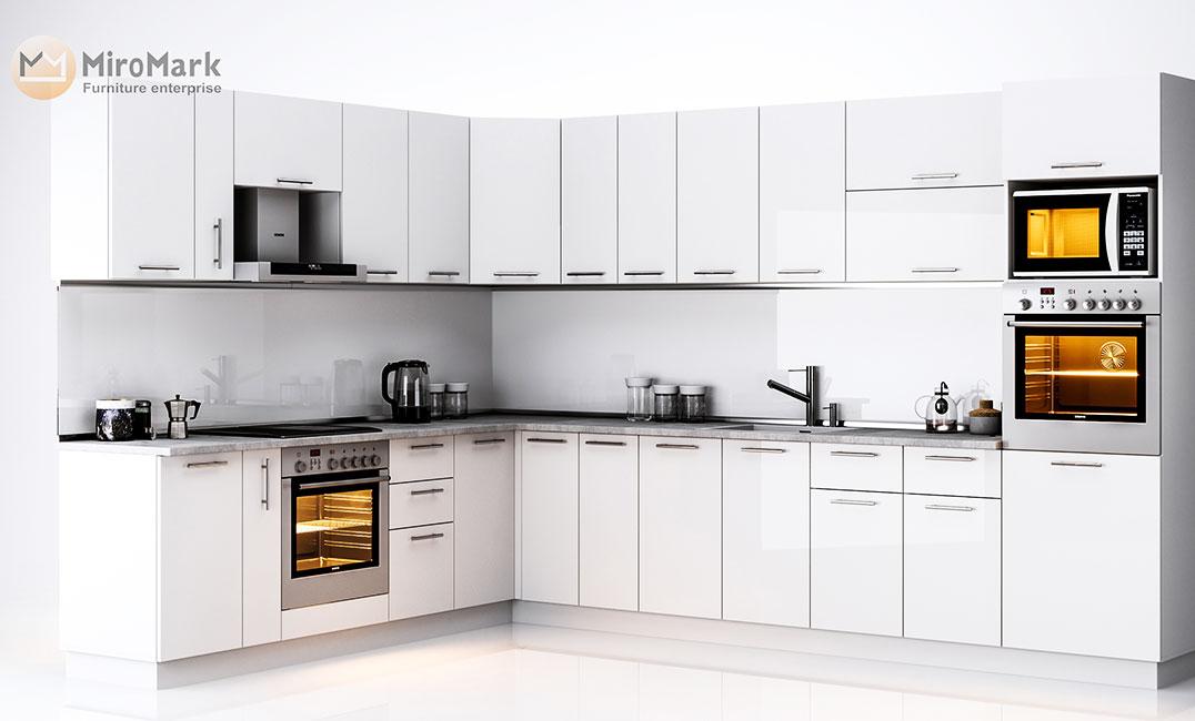 Кухня угловая «Бьянка - коллекция №566524» Глянец белый