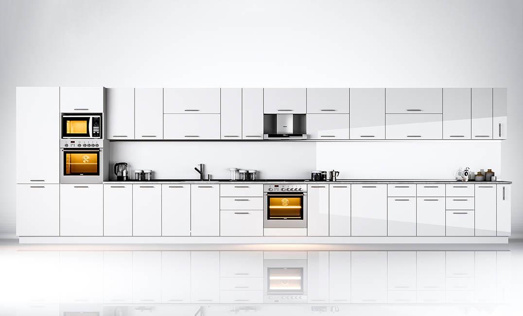 Кухня прямая «Бьянка - коллекция №566525» Глянец белый