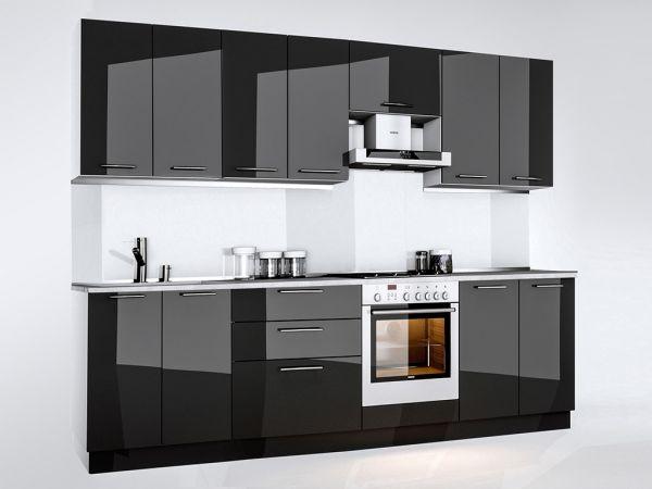 Фото Кухня пряма Міромарк Б'янка (ДСП Глянець Чорний) 280 см Розпродажна позиція - SOFINO.UA