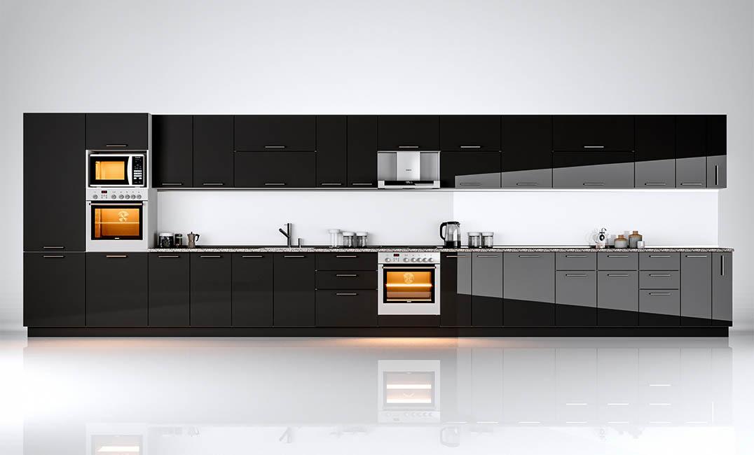 Кухня прямая «Бьянка - коллекция №566529» Глянец черный