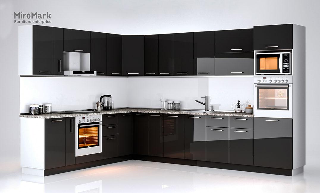Кухня угловая «Бьянка - коллекция №566530» Глянец черный