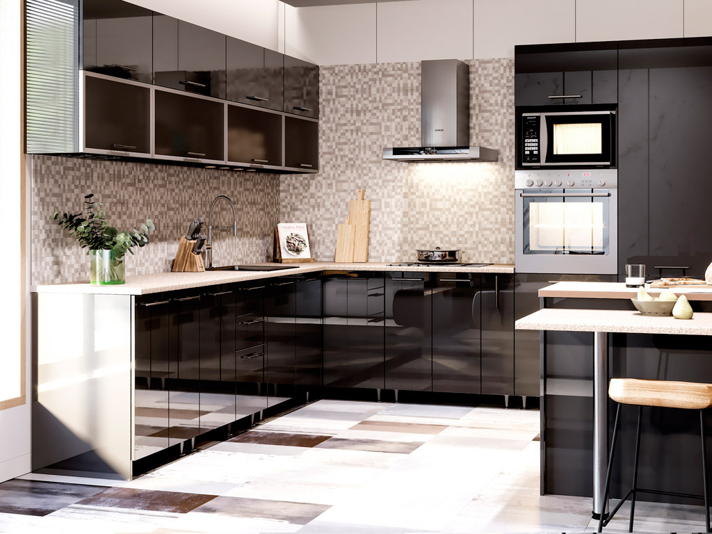 Фото Кухня кутова Міромарк Б'янка (ДСП Глянець Чорний) 280х320 см Розпродажна позиція - SOFINO.UA