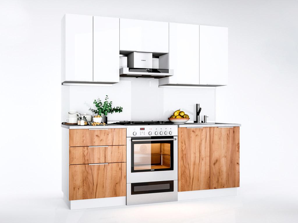 Фото Кухня пряма Міромарк Флоренц (ДСП Глянець Білий + Дуб Крафт) 200 см Розпродажна позиція - SOFINO.UA