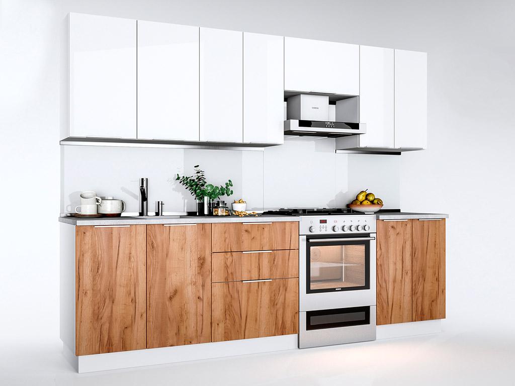 Фото Кухня пряма Міромарк Флоренц (ДСП Глянець Білий + Дуб Крафт) 260 см Розпродажна позиція - SOFINO.UA