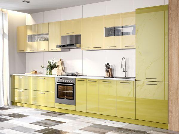 Фото Кухня пряма Міромарк Б'янка (ДСП Глянець Зелений + Глянець Ваніль) 420 см Розпродажна позиція - SOFINO.UA