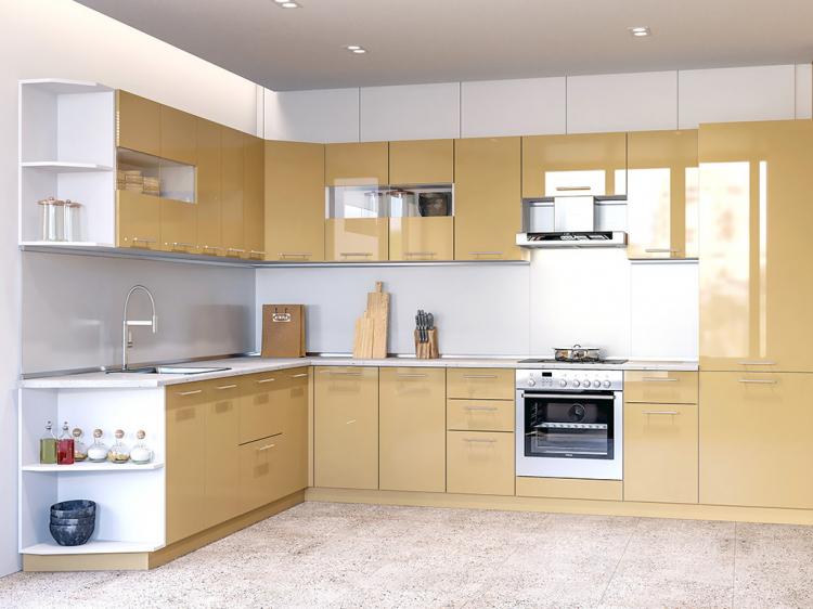 Фото Кухня кутова Міромарк Б'янка (ДСП Глянець Ваніль) 250х340 см Розпродажна позиція - SOFINO.UA