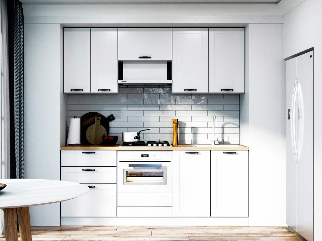 Фото Кухня пряма Вінтаж МДФ, 200 см, Білий Розпродажна позиція - SOFINO.UA