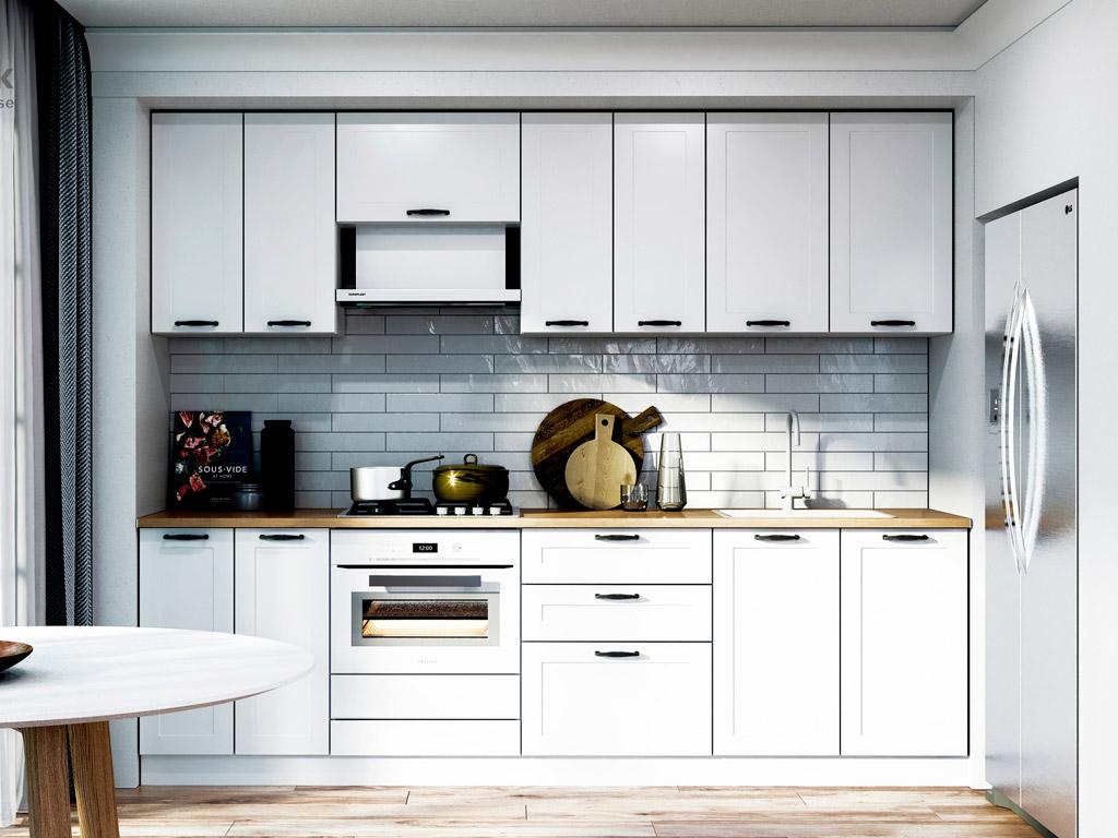 Фото Кухня пряма Міромарк Вінтаж (МДФ Мат Білий) 260 см Розпродажна позиція - SOFINO.UA