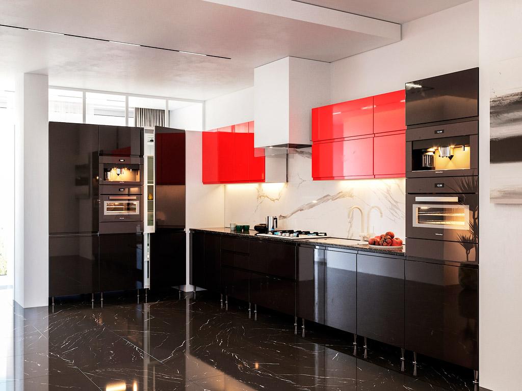 Фото Кухня кутова Міромарк Мілленіум (МДФ Глянець Червоний + Глянець Чорний) 180х370 см Розпродажна позиція - SOFINO.UA