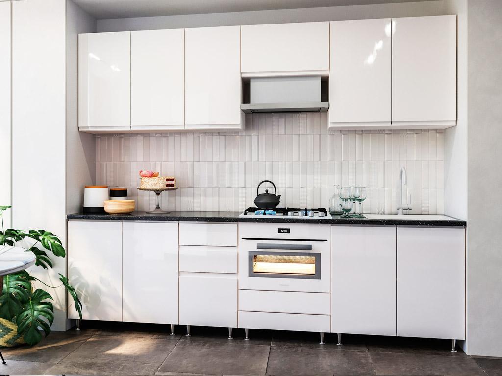 Фото Кухня пряма Міромарк Мілленіум (МДФ Глянець Білий) 260 см Розпродажна позиція - SOFINO.UA