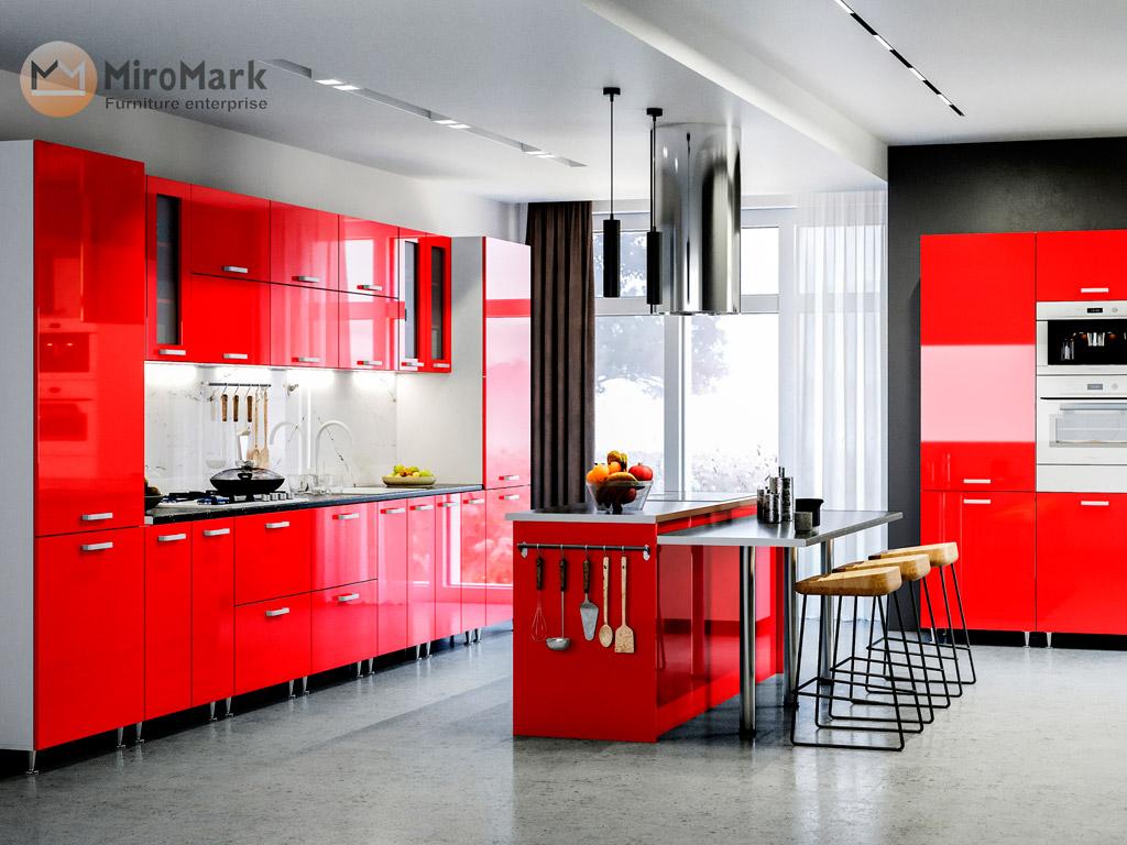 Фото Кухня пряма Міромарк Софія (МДФ Глянець Червоний) 420 см - SOFINO.UA