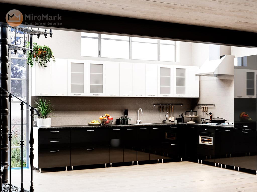 Фото Кухня кутова Міромарк Софія (МДФ Глянець Чорний + Глянець Білий) 280х385 см - SOFINO.UA