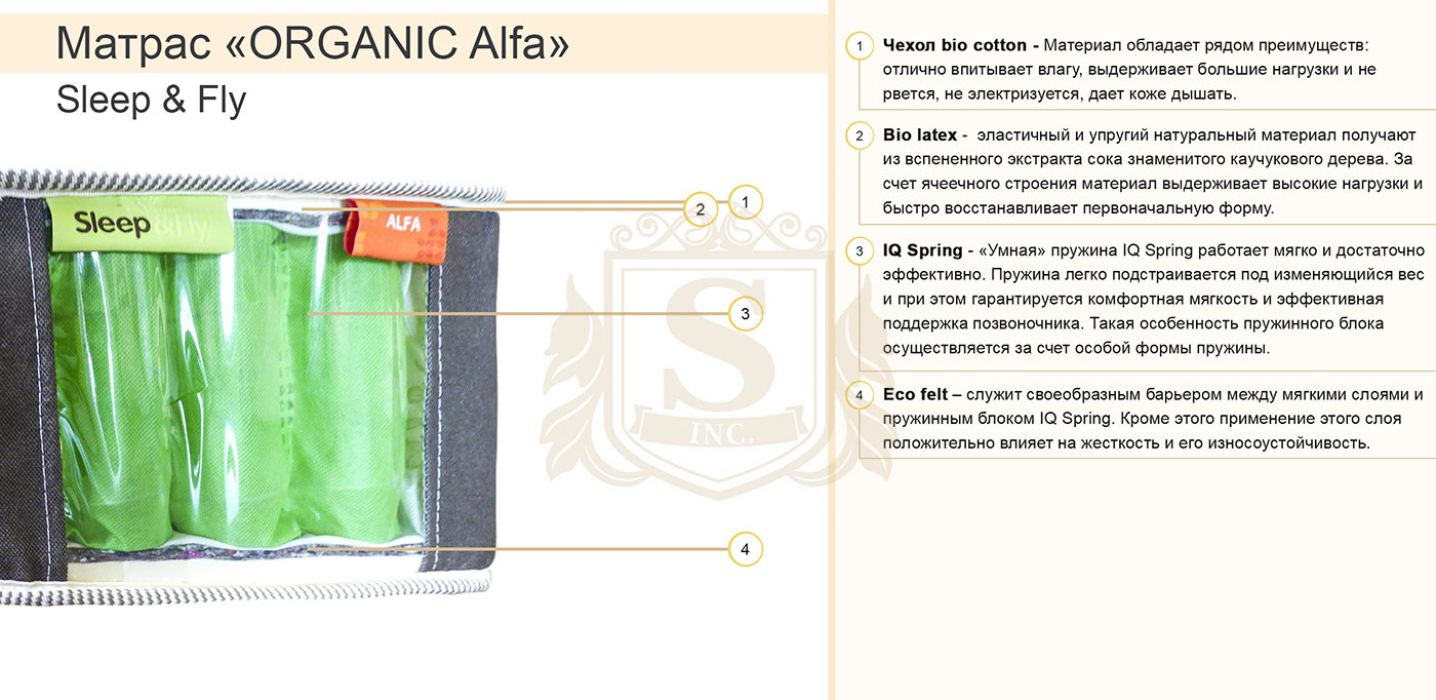 Фото 2 Матрас «ORGANIC Alfa» 150*190 Sleep&Fly organiс - sofino.ua