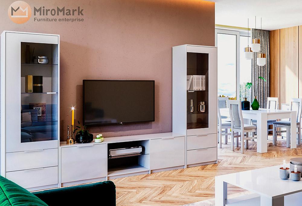 Фото Стінка Міромарк «Рома» (Сервант 1д + Тумба ТВ) Глянець білий Розпродажна позиція - SOFINO.UA