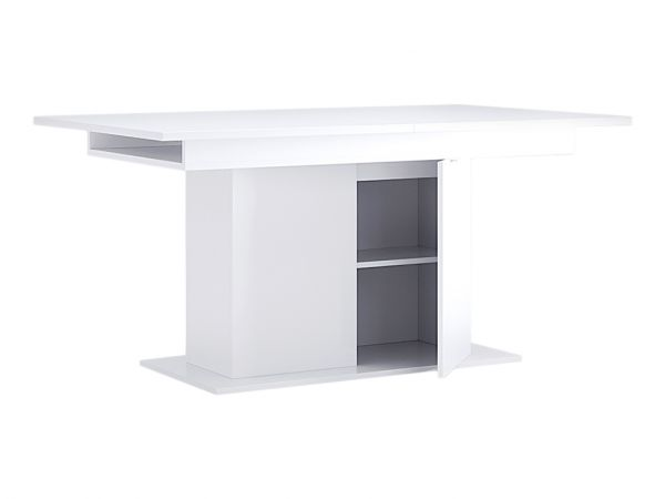 Фото Стіл столовий розсувний трансформер з дверцятами Міромарк «Рома» 73,5x150x90 Білий Розпродажна позиція - SOFINO.UA