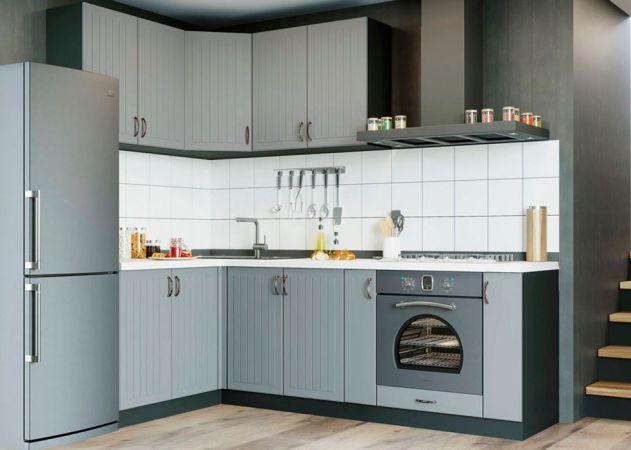 Фото Кухня кутова Верона МДФ, 140x230 см, Сіро-зелений M05  Розпродажна позиція - SOFINO.UA