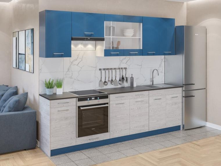 Фото Кухня пряма Марта Світ меблів • Скло + ДСП • 260 см • Фасад Індиго + Аляска + Корпус Білий Розпродажна позиція - SOFINO.UA