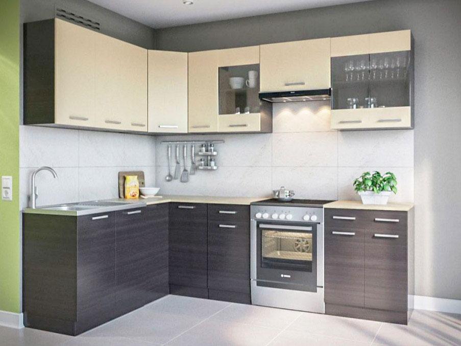 Фото Кухня кутова Марта Світ меблів • Скло + ДСП • 170х250 см • Фасад Венге темний + Венге світлий + Корпус Венге темний Розпродажна позиція - SOFINO.UA