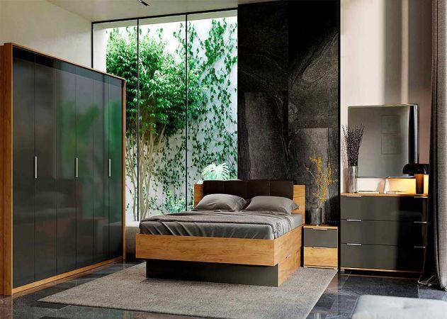Фото Спальня Луна (М) Дуб крафт + Мат лава (Ліжко з шухлядами, Тумбочки 2Ш - 2 шт, Дзеркало, Комод 3Ш, Шафа 6Д) Розпродажна позиція - SOFINO.UA