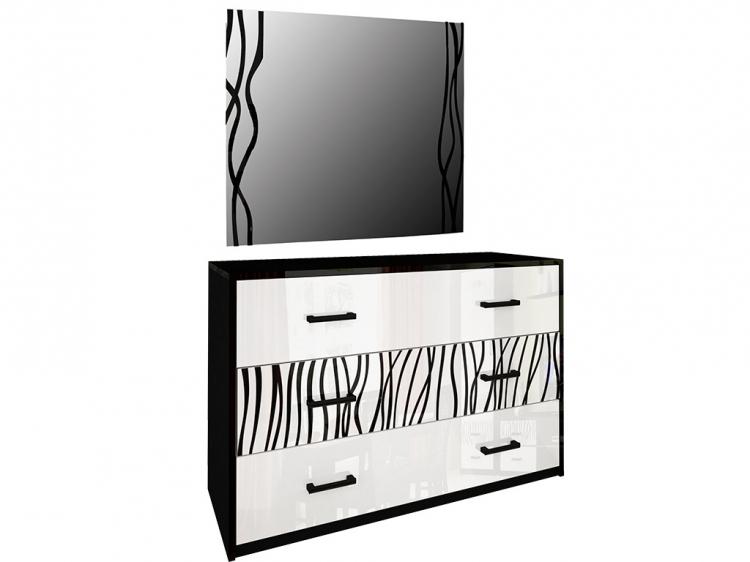 Фото Комод з дзеркалом Міромарк «Терра 3ш» 160x120x46 Глянець білий + Мат чорний Розпродажна позиція - SOFINO.UA