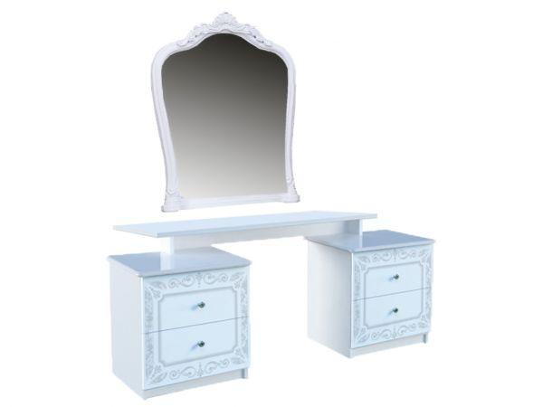 Фото Стіл туалетний з дзеркалом Міромарк «Луїза 4шх» 171x158x45 Глянець білий - SOFINO.UA